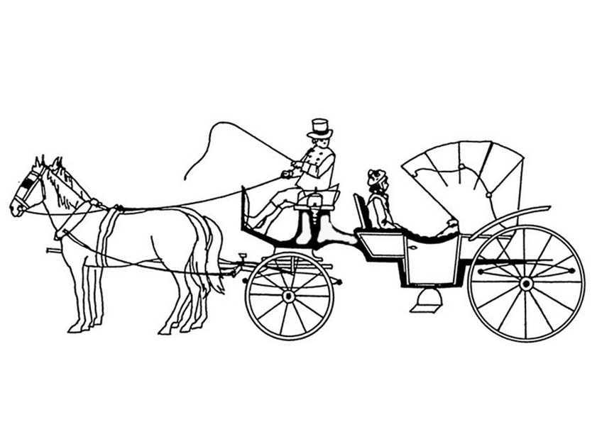 pferde mit kutsche 5 ausdruken und ausmalen